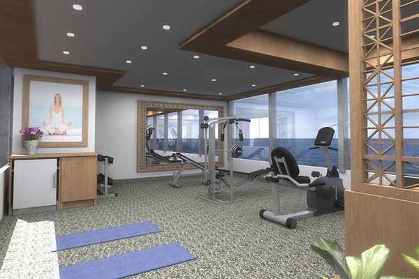 The ocean-view fitness centre on-board Silversea Silver Galapagos