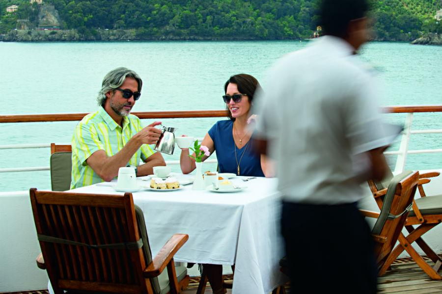 Couple dining on-board Windstar Cruises