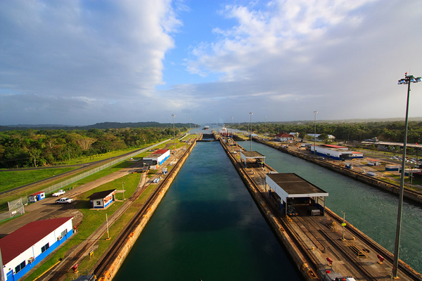 Looking over Panama Canal