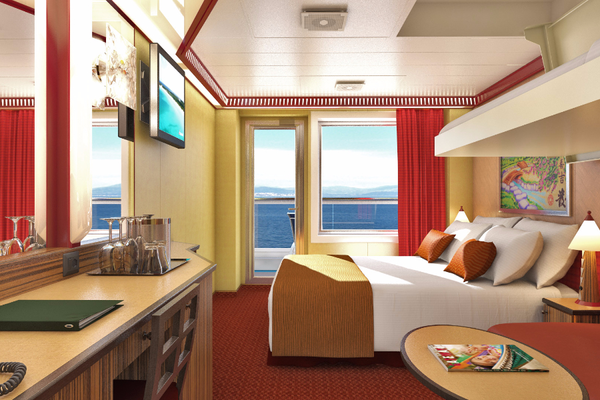 A cosy stateroom on-board Carnival Horizon