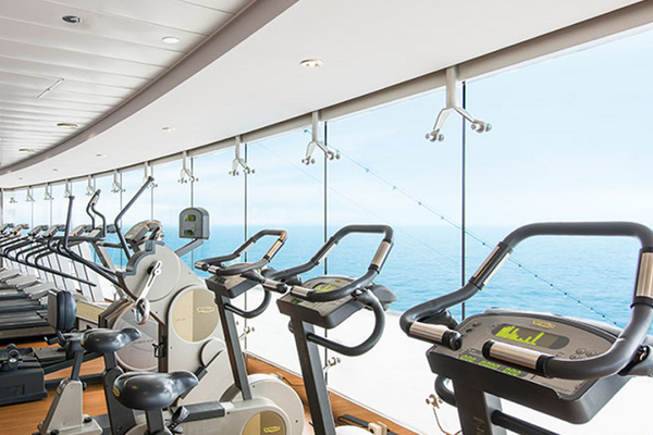 Gym equipment with a sea view on-board MSC Bellissima