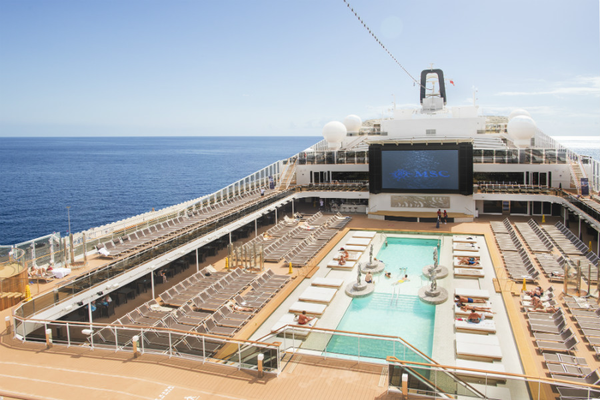 The stunning pool deck on MSC Grandiosa